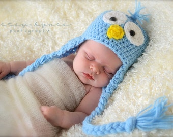 Baby Blue Bird Hat, photography prop, 0 to 3 months and crochet hat