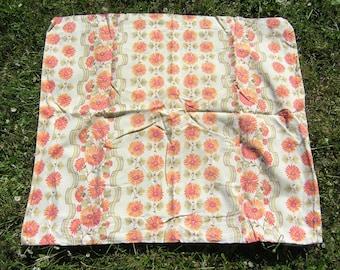Retro German Sized Pillowcase, Vintage 100% Cotton Floral Pillowcase
