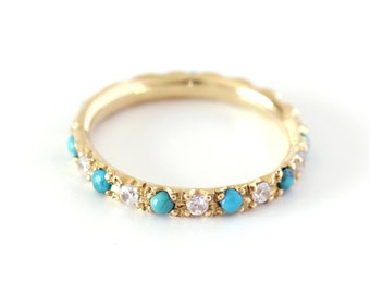 Turquoise Wedding Ring with Diamonds - Eternity Wedding Ring - 18K Gold