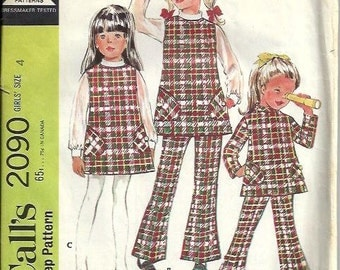 1960's Girls Separates, Mini Dress, Jumper, Bell Bottoms and Blouse, McCall's 2090, Size 4