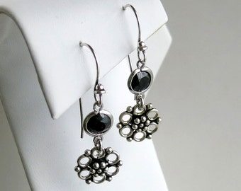 Sterling silver earrings with black crystal and bali flower