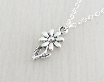 Silver Daisy Flower Charm Necklace, Silver Daisy Flower Pendant, Daisy Flower Charm Pendant, Daisy Flower Necklace