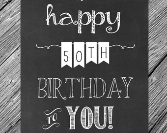 INSTANT DOWNLOAD -- 8x10 Chalkboard Printable Happy 50th Birthday Sign