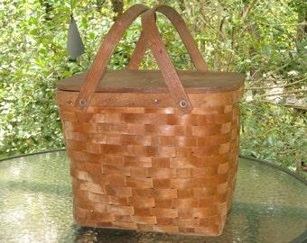 Vintage Wood Picnic Basket, Early Century Basket,Stage Prop