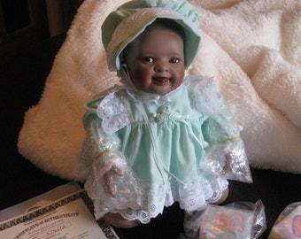 Vintage The Ashton Drake Galleries, Porcelain Doll, Yolanda Bello, Shawna, Easter