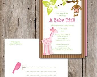 Printable Pink Safari Baby Shower Invite and Designer Envelope