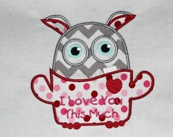 This Much Valentine Little Monster Applique Design