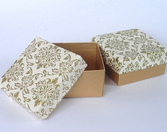 Wedding favor box,Packaging box,Chocolate box 10 Gold Damask Print on White 3 x 3 x1.5 inch