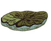 ID #7231 Green and Blue Lily Pad Water Plant Iron On Embroidered Patch Applique
