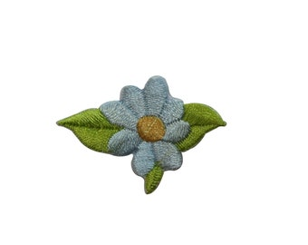 ID #6556 Light Blue Yellow Daisy Flower Iron On Embroidered Patch Applique