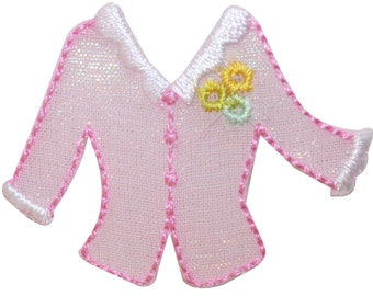 ID #7734 Pink Blouse Button-Up Sweater Shirt Embroidered Iron On Applique Patch