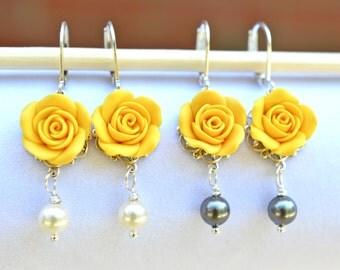 Yellow Rose Earrings, Yellow Flower Earrings, Spring Earrings, Bridesmaid Earrings, Spring Jewelry, Bridal Jewelry