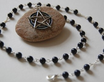 Midnight Magic - Blue Goldstone Witches' Ladder/Prayer Beads/Necklace. Pagan, Druid, Wicca, Witch.