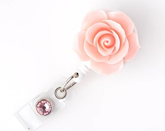 Full Bloom Rose - Retractable ID Badge Holder - Flower Badge Reel - Designer ID Reel - RN Gift - Pretty Name Badge Clip - BadgeBloom