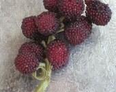Large Glass Beaded Berries Grapes Millinery Bunch/Spray -Rich Cranberry Merlot Color - Vintage Antique Supplies, Trim