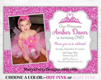 Princess Birthday Invitation - Gold Glitter Princess Crown Pink Silver Tiara Royal Blush 1st First Photo Picture - Digital Printable