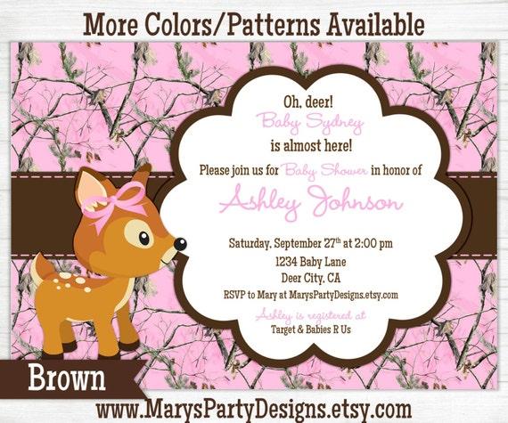 pink camo baby shower invitation girl sprinkle 1st first birthday
