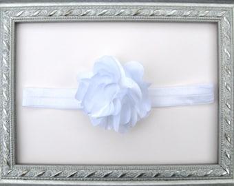 White Elastic Headband with Flower~ FREE SHIPPING