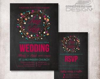 DIY Printable chalkboard flowers Wedding Invitation