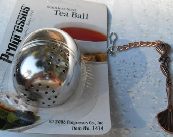 Tea Ball Designer Stainless Steel IOP Antiqued Copper Ornate Teaspoon Accent on Copper Chain