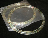Round lucite purse handles translucent with multi colored beads set of 2