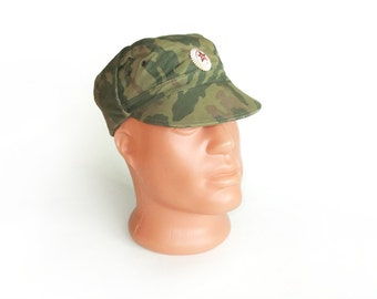Vintage Сamouflage Men's Hat,  Military Army Soldiers Hat, Small Size