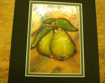 Double Matter Copper Pear Artwork signed by the artist fabric mat