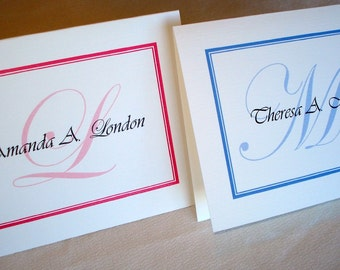 50 Personalized Note Cards, Custom Thank You Notes w/ Envelopes. Great Bridal Shower or Wedding Gift. Perfect Teacher Gift.