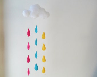 Cloud mobile with raindrops, - felt mobile - rain - sky - Baby nursery mobile