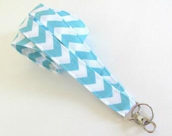 Aqua Blue Chevron Lanyard ID Badge Holder, Chevron Key Lanyard, Fabric Lanyard Teacher Gift, Nurse Lanyard Spring Accessory