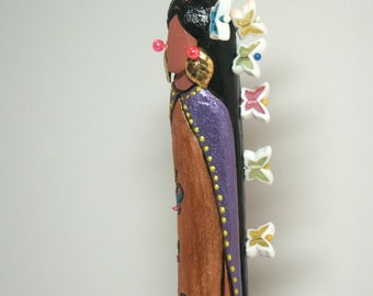 "Carved doll Butterfly Woman Native American Indian fantasy 12"" faceless collectable gift"