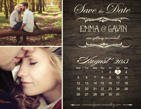 Save The Date Magnet Or Card Vintage Calendar By