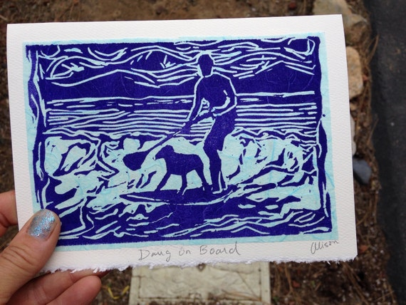 Dawg on Board 5 x 7 linocut card