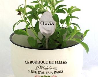 One Vintage Silverware GARDEN Herb Flower Vegetable MARKER - Sage, Pineapple Sage & Stevia - Garden Shabby Chic Made To Order