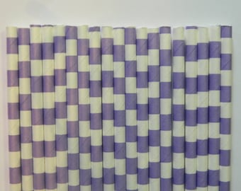 25 Lavender Rugby Horizontal Striped Paper Straws- Sofia the First Straw-Birthday Decorations, Cake Pops- Baby, Bridal Shower, Wedding Decor
