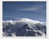 Mont Blanc playing hide and seek 10x8 - Fine Art Winter Photography Poster - skiing in Flaine, French Alps