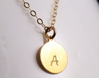 CLOSEOUT Gold Initial Necklace, Small Disc Handstamped Personalized, Sister Mom Aunt Gift, 14kt Gold Filled Minimal, Valetines Mothers Day