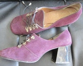 Vintage 60s 70s Dolcis shoes purple suede with chunky high heel US 7.5 UK 5.5