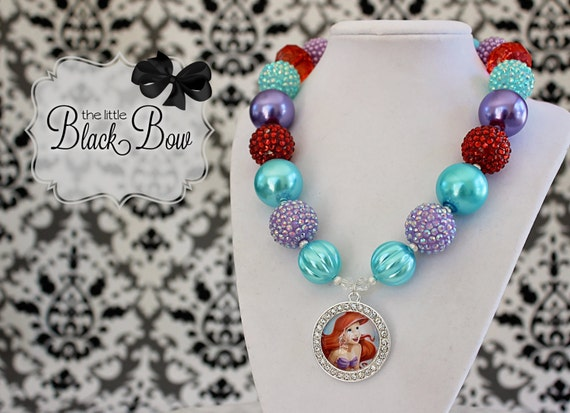 ARIEL Chunky Necklace, Little Mermaid Necklace, Rhinestone, Disney Princess Necklace, Child, Toddler, Size Bubblegum Gumball Beaded Necklace