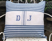 Antique European Grain Sack Pillow, inset with Antique Blue and White Striped FRENCH TICKING FABRIC, Monogrammed Grain Sack, Beach, Coastal