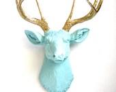 SEA BREEZE with gold antlers Faux Taxidermy Deer Head wall mount wall hanging home decor:  Deerman the Deer Head  / office / elegant / gift