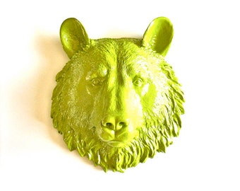 CHARTREUSE Faux Taxidermy Small Bear Head wall mount in chartreuse (yellow green): Bob the Bear // nursery // office //  woodland // fake