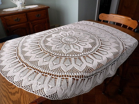 Crochet Doily Tablecloth Ecru 48 Inch Diameter Round Lace