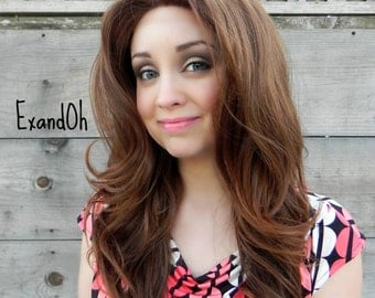 Lace Front Wig, Warm Brown Ombre Hair, Pin Up Hair Style, Long Wavy Natural Hair, Full Body Curly