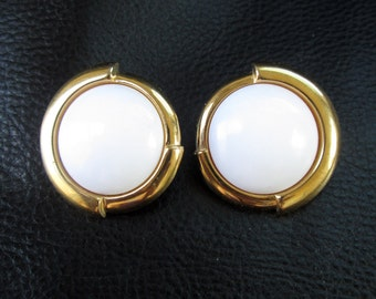 Round white earrings, vintage Mod white Lucite and gold tone Monet earrings
