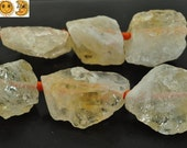 15.5 inch strand of Citrine rough cut nugget natural gemstone beads,yellow color 17-24x24-31mm