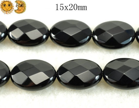 15 inch strand of natural Black Onyx faceted oval beads 15x20mm