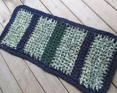 Emerald Coast SCOFG Crochet Rag Rug Medium Cotton Washable Soft Handmade Bathmat Kitchen Porch Country Primitive Blue Green Table Runner