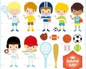 Boys Sports Clip Art. ---- For Invitations Cards Making, Handmade Crafts Projects. Personal and Small Commercial Use ---- BB 0854