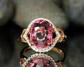 Engagement Ring -  4 Carat Pink Tourmaline Engagement Ring With Diamonds In 14K Rose Gold